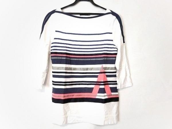 マリテフランソワジルボー 七分袖Tシャツ サイズM メンズ 白×ダークネイビー×マルチ