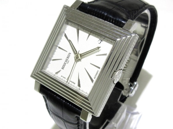 BOUCHERON(ブシュロン) 腕時計 キャレ WA011301 メンズ 型押し革ベルト 白