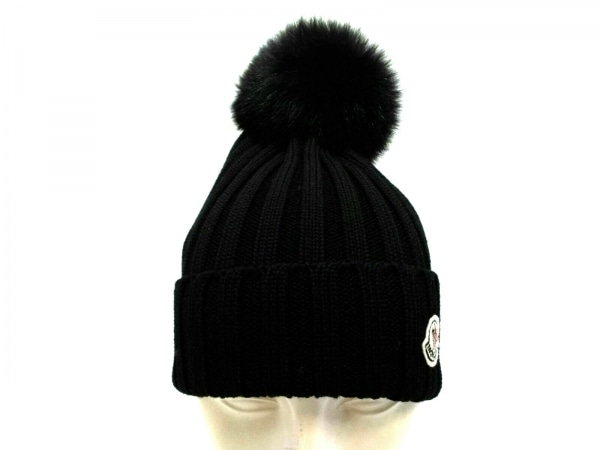 MONCLER(モンクレール) ニット帽美品  黒 ウール×フォックス