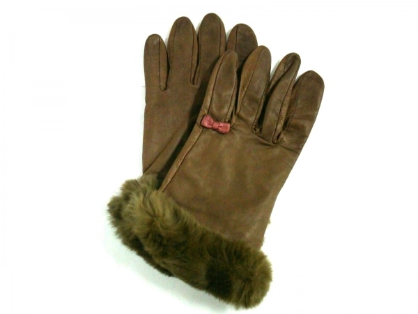 UNOKANDA(ウノカンダ) 手袋 21 レディース ブラウン×カーキ リボン レザー×ファー