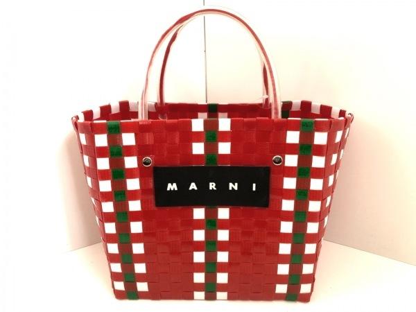 MARNI(マルニ) トートバッグ レッド×白×グリーン かごバッグ 化学繊維