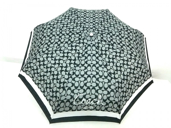 コーチ 折りたたみ傘美品  シグネチャー柄 グレー×黒×ライトグレー ポリエステル