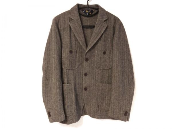 ケント&カーウェン ジャケット サイズL メンズ 黒×アイボリー 冬物/ストライプ