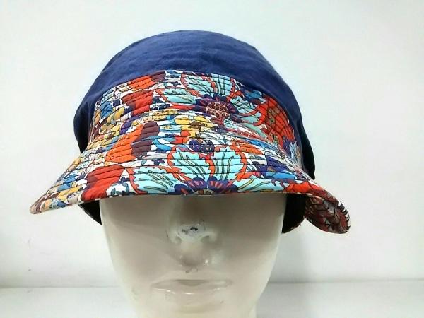 ミサハラダ 帽子新品同様  ネイビー×オレンジ×マルチ 花柄 リネン×コットン