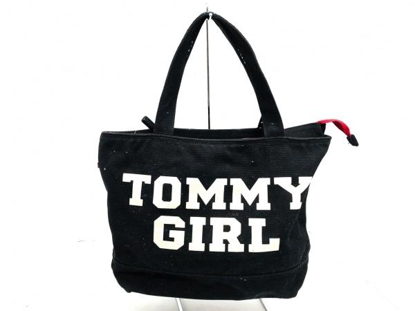 tommy girl(トミーガール) ハンドバッグ 黒×アイボリー×マルチ キャンバス