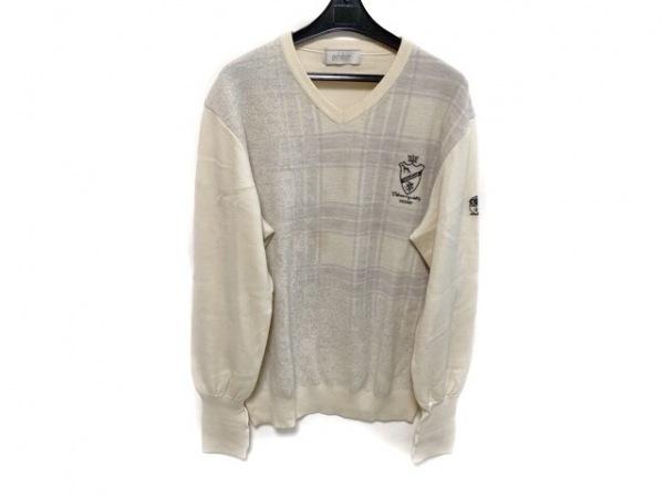 アダバット 長袖セーター サイズ48 XL メンズ アイボリー×ライトグレー チェック柄