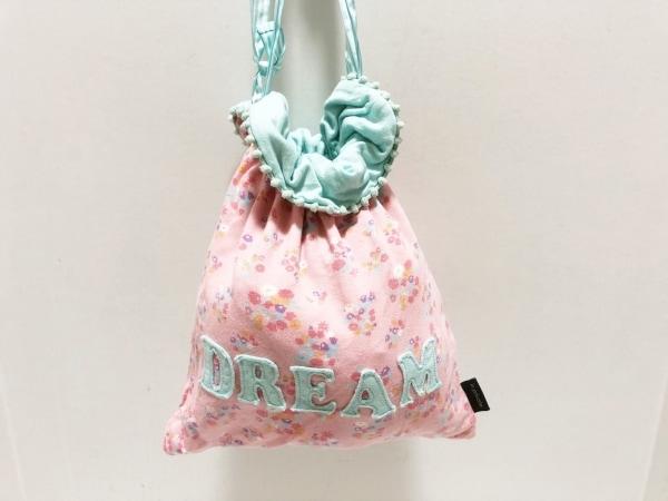 DREAM(ドリーム) バッグ ピンク×ブルー×マルチ 巾着/花柄 コットン