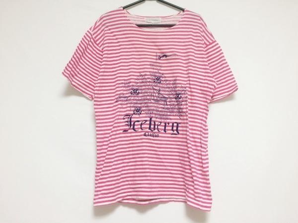 ICEBERG(アイスバーグ) 半袖Tシャツ サイズM メンズ ピンク×白 ボーダー