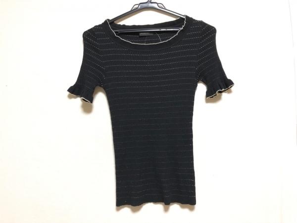 INGEBORG(インゲボルグ) 半袖セーター サイズM レディース 黒×白 フリル