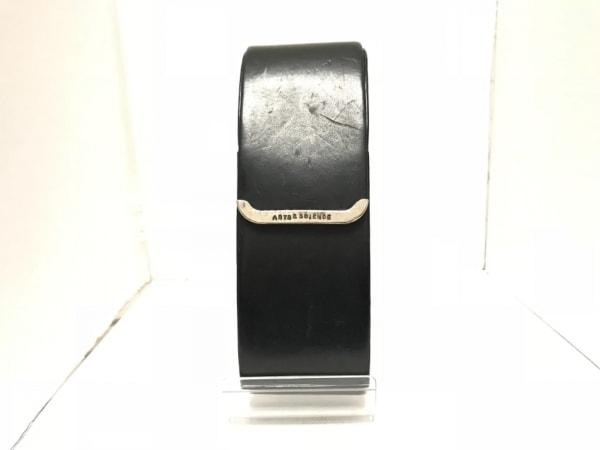 ARTS&SCIENCE(アーツアンドサイエンス) メガネケース 黒×シルバー レザー×金属素材