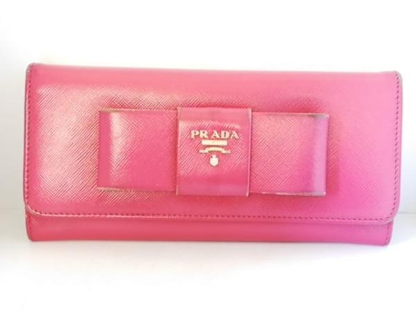 3881c1a38af6 PRADA(プラダ) 長財布 - ピンク リボン レザーの中古 | PRADA ブランド ...