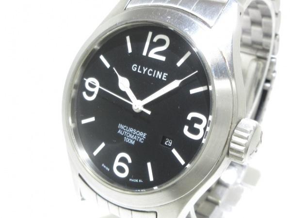 GLYCINE(グリシン) 腕時計 インクルソーレ 3821 メンズ 裏スケ 黒
