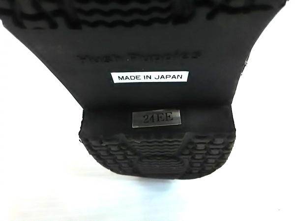 ハッシュパピーズ ショートブーツ 24 EE  レディース 黒 サイドゴア レザー×化学繊維