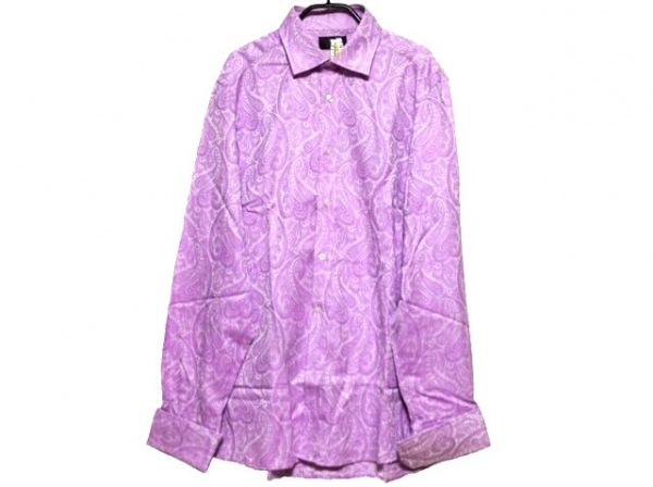 DUCHAMP(ドゥシャン) 長袖シャツ サイズ42cm メンズ パープル×白 ペイズリー柄