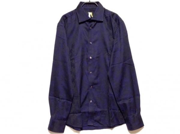 DUCHAMP(ドゥシャン) 長袖シャツ サイズ42cm メンズ 黒×ネイビー 花柄