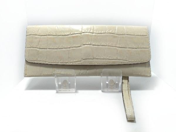 CYPRIS(キプリス) 長財布 アイボリー 型押し加工 レザー