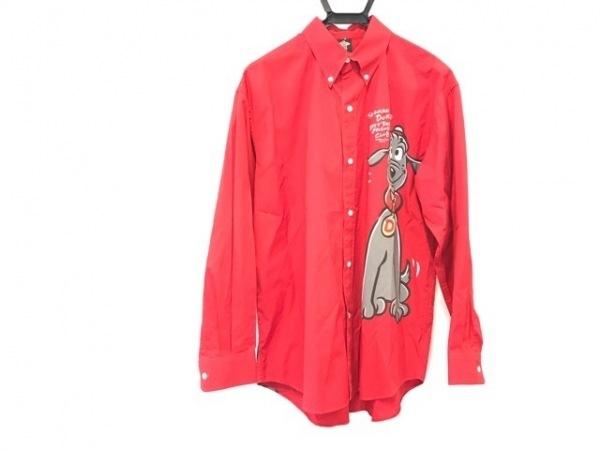 ショーナンデューク 長袖シャツ サイズL メンズ レッド×グレー×マルチ 犬 綿