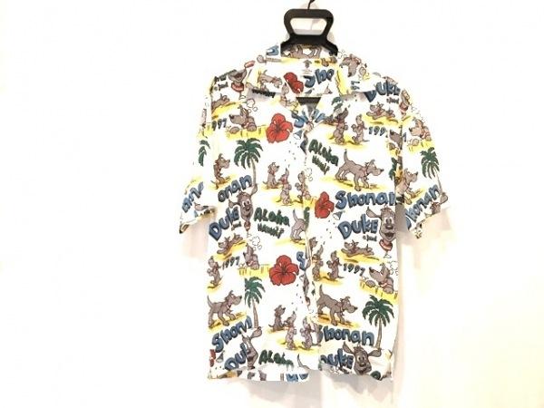 ショーナンデューク 半袖シャツ サイズL メンズ美品  アイボリー×イエロー×マルチ