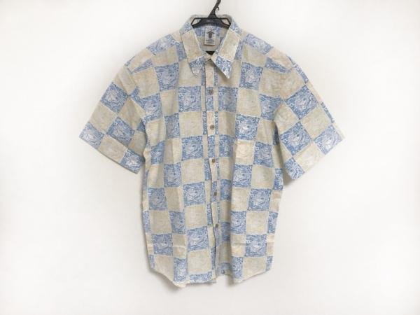 ショーナンデューク 半袖シャツ サイズL メンズ美品  白×ブルー×マスタード