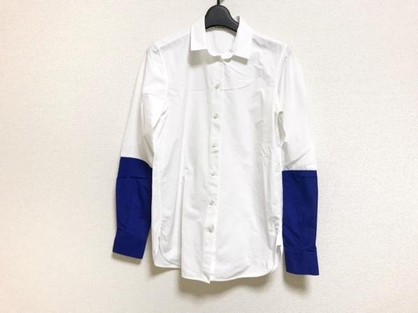 CELINE(セリーヌ) 長袖シャツブラウス サイズ38 M レディース美品  白×ブルー