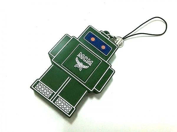 エムシーエム ストラップ美品  ダークグリーン×ブルー×イエロー ロボット ラバー