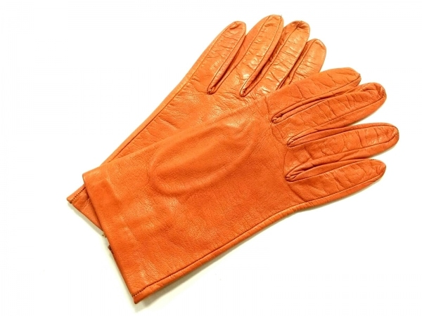 MADOVA(マドヴァ) 手袋 6 1/2 レディース美品  オレンジ レザー