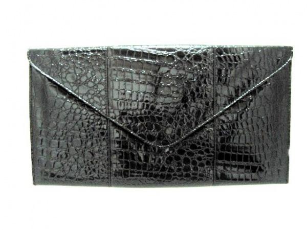 RACHEL ZOE(レイチェルゾー) クラッチバッグ 黒 型押し加工 エナメル(レザー)