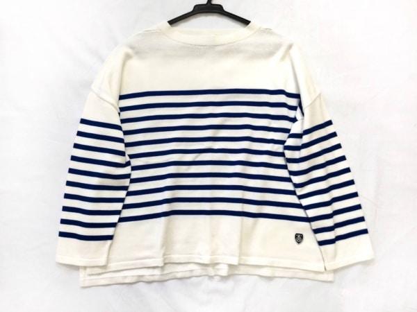 オーシバル 七分袖セーター サイズF レディース新品同様  白×ネイビー ボーダー