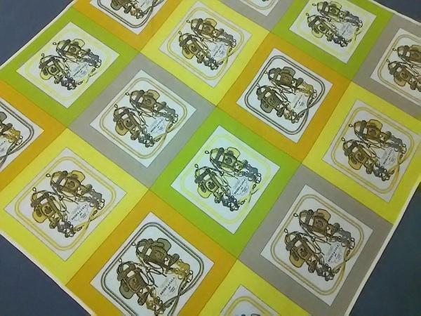 HERMES(エルメス) スカーフ美品  スムーズカレ90 イエロー×ライトグリーン×マルチ