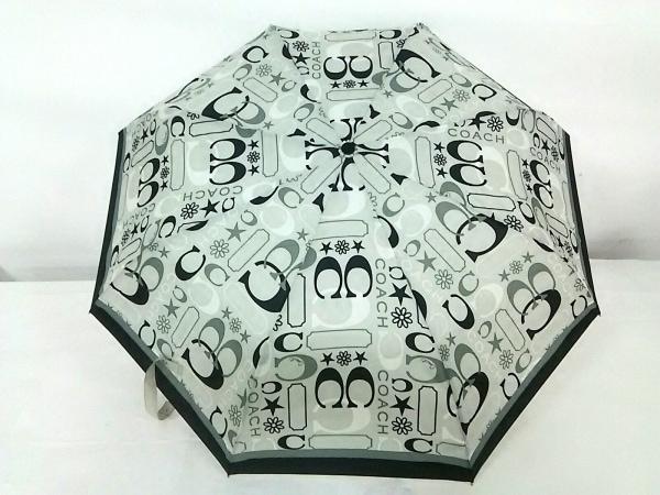 COACH(コーチ) 折りたたみ傘美品  ベージュ×グレー×黒 ポリエステル