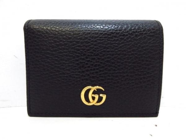 GUCCI(グッチ) 2つ折り財布美品  GGマーモント 456126 黒 レザー
