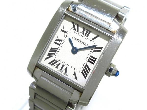 カルティエ 腕時計 タンクフランセーズSM W51008Q3 レディース SS アイボリー