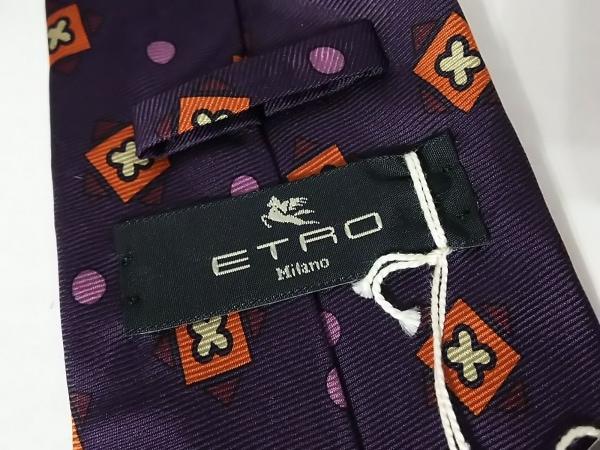 ETRO(エトロ) ネクタイ メンズ新品同様  パープル×オレンジ×マルチ 新品タグ付き
