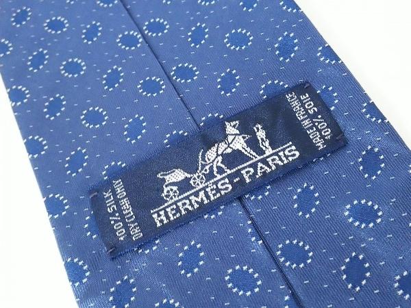 HERMES(エルメス) ネクタイ メンズ美品  ネイビー×白