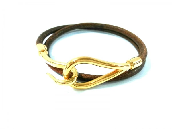 HERMES(エルメス) ブレスレット美品  ジャンボ レザー×金属素材 ブラウン×ゴールド