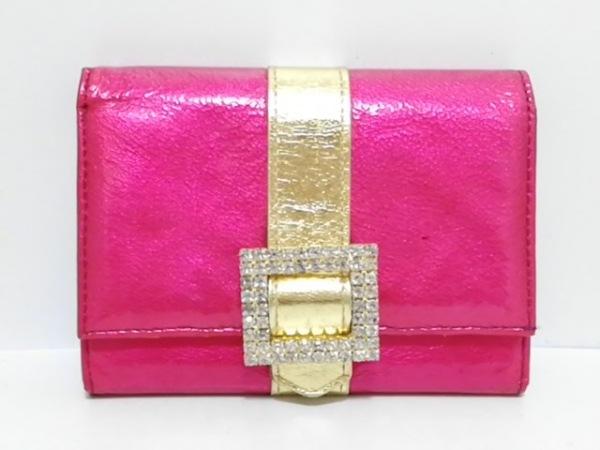 ASH&DIAMONDS(アッシュ&ダイヤモンド) 2つ折り財布 ピンク×ゴールド ラインストーン