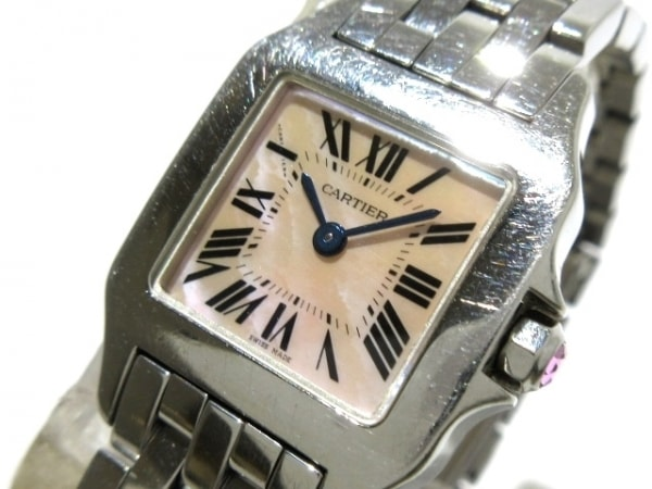 カルティエ 腕時計 サントスドゥモワゼルSM W25075Z5 レディース SS/シェル文字盤
