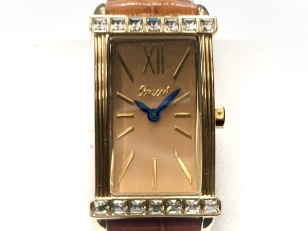 GROSSE(グロッセ) 腕時計 - レディース 型押し加工/ラインストーンベゼル ゴールド