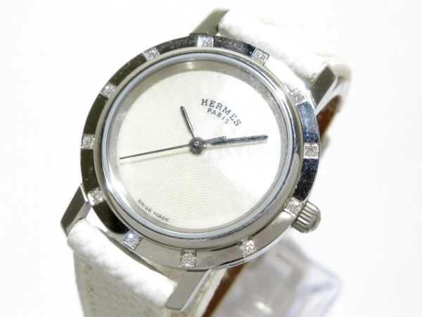 HERMES(エルメス) 腕時計美品  クリッパーナクレ CL4.230 レディース ホワイトシェル