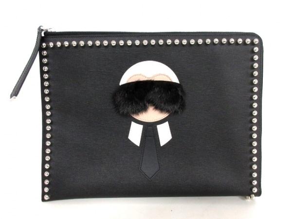 フェンディ クラッチバッグ美品  カーリトスリムクラッチ 8M0370 黒×白×ベージュ