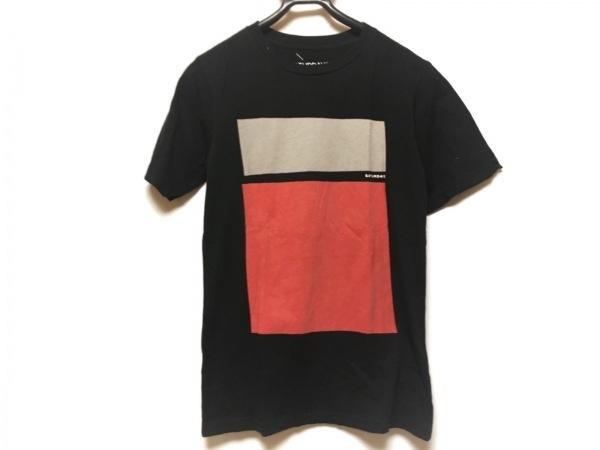 サタデーズ サーフ ニューヨーク 半袖Tシャツ メンズ 黒×グレー×レッド