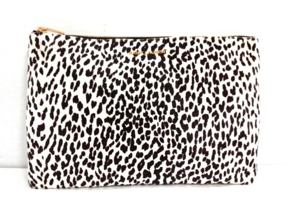 サンローランパリ クラッチバッグ美品  328517 白×ダークブラウン ハラコ