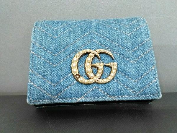 グッチ 2つ折り財布 GGマーモント 466492 ライトブルー×ゴールド×アイボリー デニム