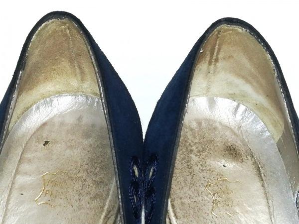 ブルーノマリ パンプス 36 レディース ネイビー オープントゥ スエード×化学繊維