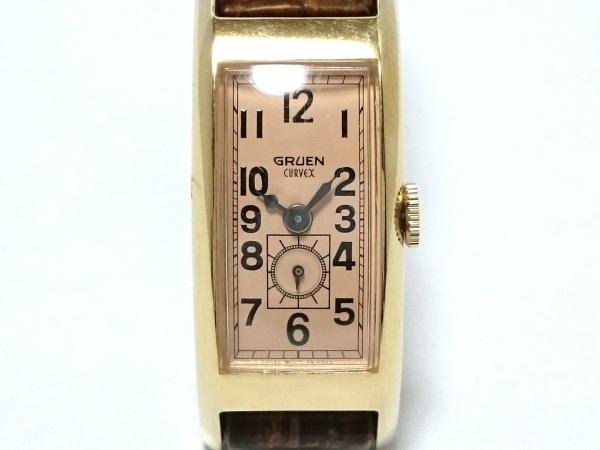 GRUEN(グリュエン) 腕時計 - レディース 型押し革ベルト ベージュ
