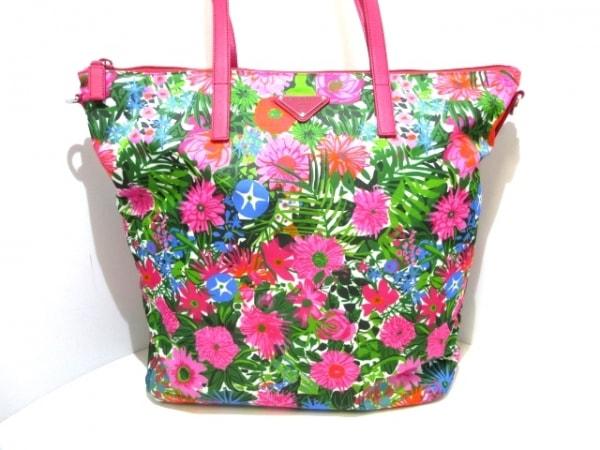 プラダ ショルダーバッグ美品  - ピンク×グリーン×マルチ 花柄 ナイロン×レザー
