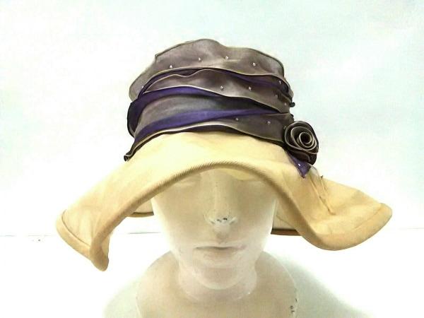 maxim(マキシン) 帽子美品  ベージュ×パープル フェイクパール シルク