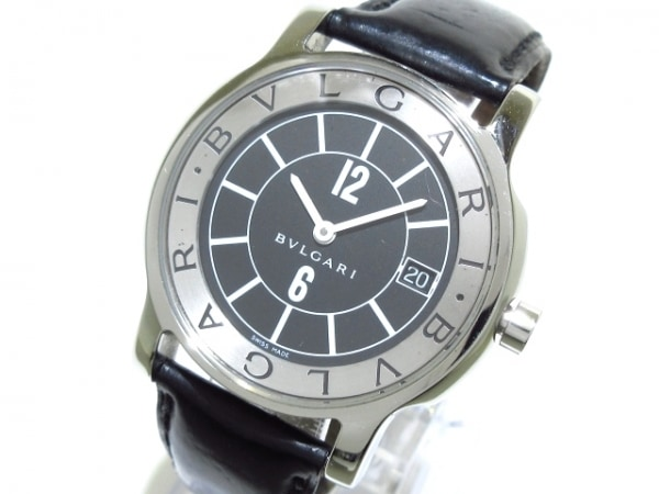 BVLGARI(ブルガリ) 腕時計 ソロテンポ ST35S メンズ 革ベルト 黒