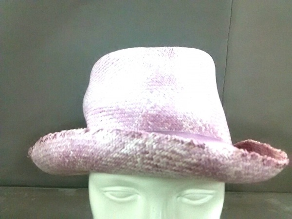 Borsalino(ボルサリーノ) ハット M美品  ピンク リボン ストロー×化学繊維