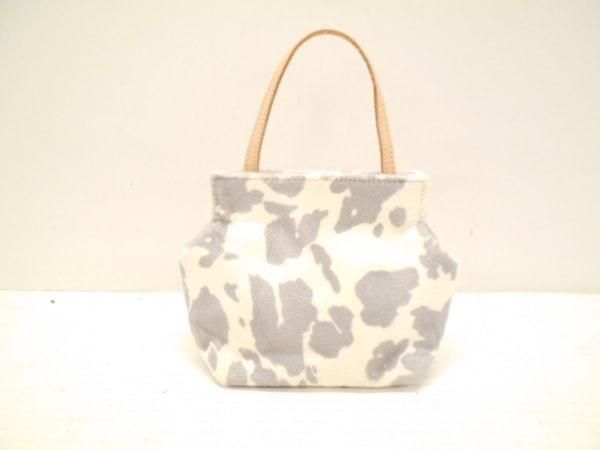 FRECCIA(フレッチャ) ハンドバッグ美品  白×グレー ミニサイズ ハラコ